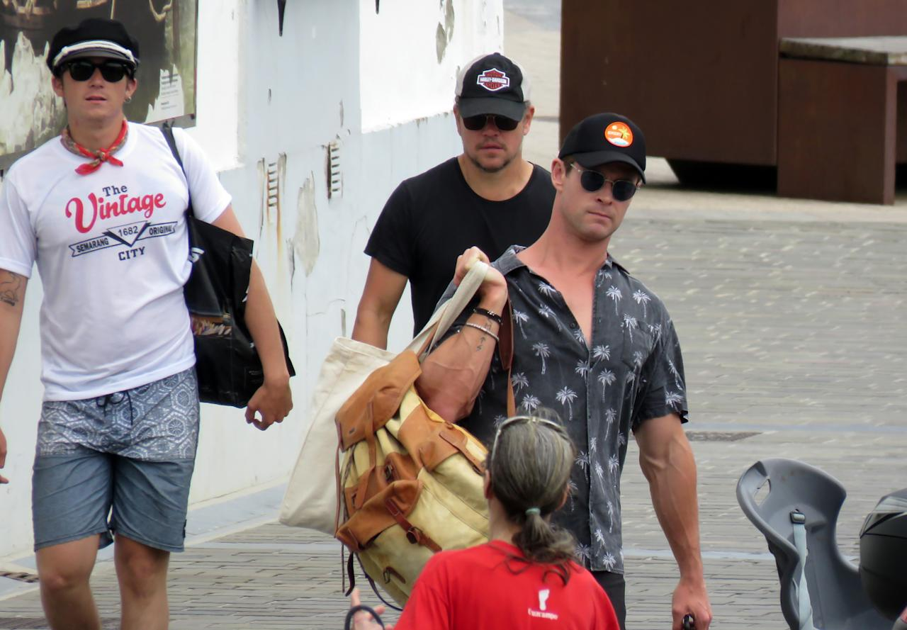 <p>Chris Hemsworth and Matt Damon have been spotted holidaying with their families together in San Sebastian, Spain. Source: Getty </p>