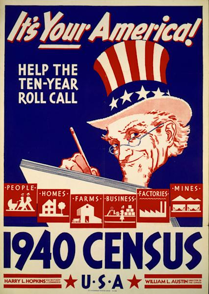 In this photo provided by the Library of Congress, Prints & Photographs Division, a poster for the 1940 Census is shown. Veiled in secrecy for 72 years because of privacy protections, the 1940 U.S. Census is the first historical federal decennial survey to be made available on the Internet initially rather than on microfilm. (AP Photo/Library of Congress, Prints & Photographs Division)