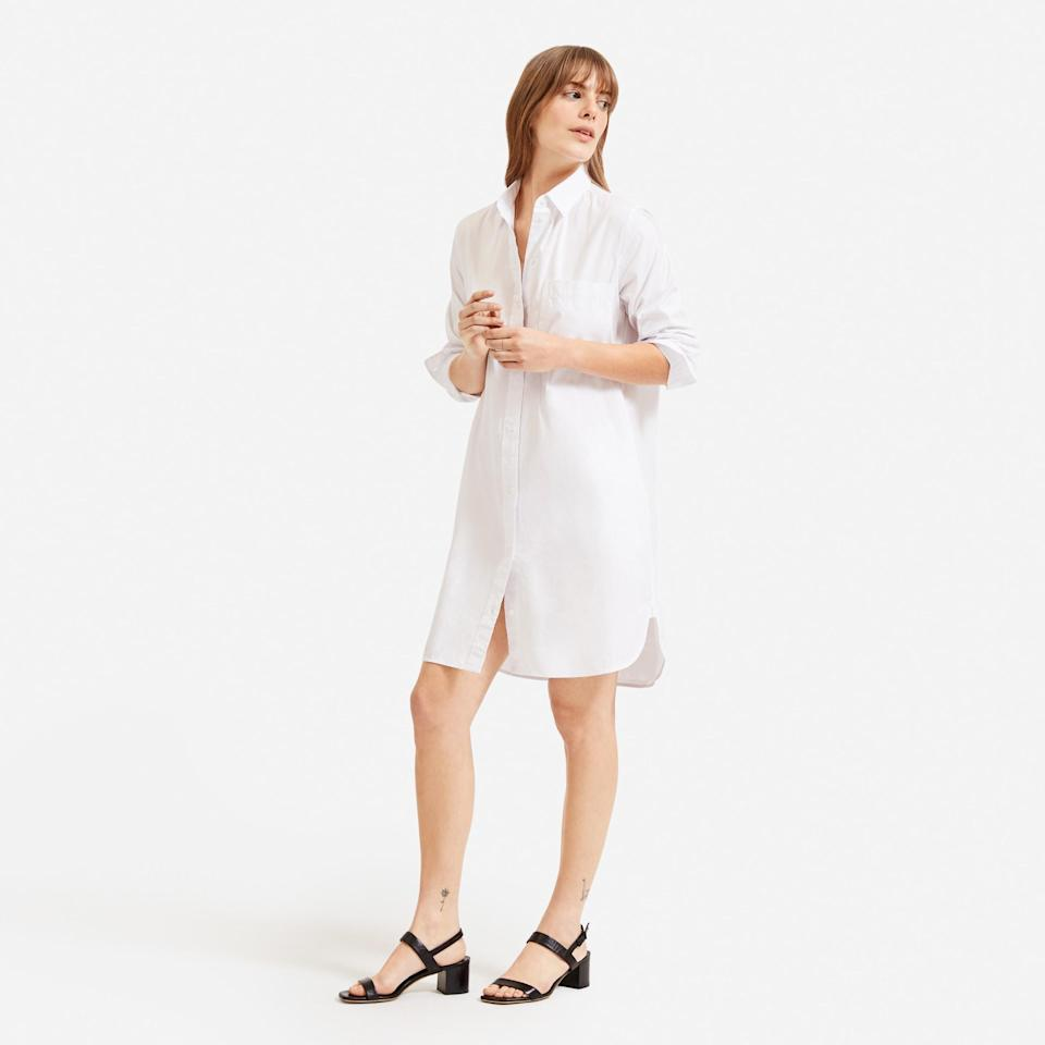 """<p><strong>everlane</strong></p><p>everlane.com</p><p><strong>$80.00</strong></p><p><a href=""""https://go.redirectingat.com?id=74968X1596630&url=https%3A%2F%2Fwww.everlane.com%2Fproducts%2Fwomens-cotton-shirtdress-white&sref=https%3A%2F%2Fwww.marieclaire.com%2Ffashion%2Fg32164218%2Fbest-shirtdress%2F"""" rel=""""nofollow noopener"""" target=""""_blank"""" data-ylk=""""slk:SHOP IT"""" class=""""link rapid-noclick-resp"""">SHOP IT</a></p><p>The original throw-it-on-and-don't-think twice, classic shirtdress.</p>"""