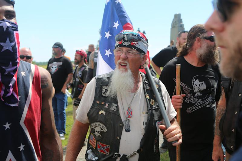 Militia groups, KKK members, the Sons of Confederate Veterans and other far-right groups gathered at the Civil War battlefield in Gettysburg, Pennsylvania, on July 1, 2017, and spoke out againstthe removal of Confederate monuments across the U.S.