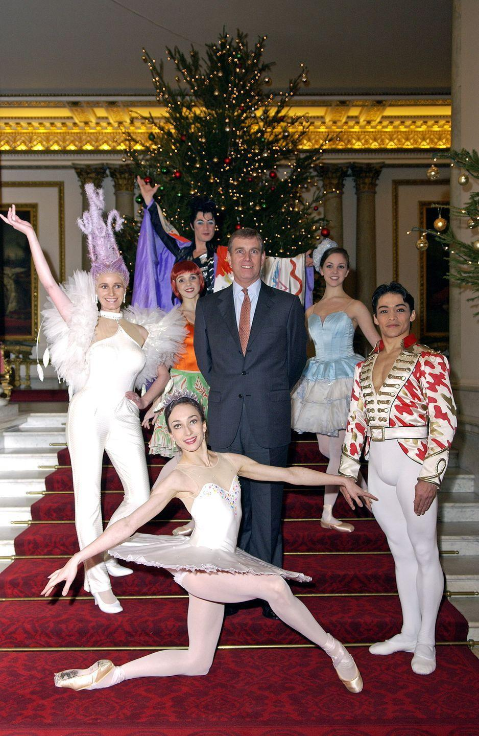 <p>At Buckingham Palace, Prince Andrew poses with dancers from the English National Ballet.</p>