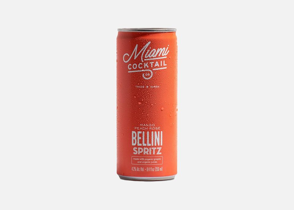 """There is a lot to love about Miami Cocktail's line of non-GMO, gluten-free, and organic cocktails in colorful single-serve cans. Perfect for a brunch or picnic rendezvous, the Bellini Spritz is a crowd favorite: rosé wine and organic peach and mango juices mix together into a bright summer drink. The fizzy range also includes margarita, mimosa, and sangria spritz options. $13, Miami Cocktail (four-pack). <a href=""""https://miamicocktail.passionspirits.com/miamicocktail/miami-cocktail-co-organic-bellini-spritz-4-pack.html"""" rel=""""nofollow noopener"""" target=""""_blank"""" data-ylk=""""slk:Get it now!"""" class=""""link rapid-noclick-resp"""">Get it now!</a>"""