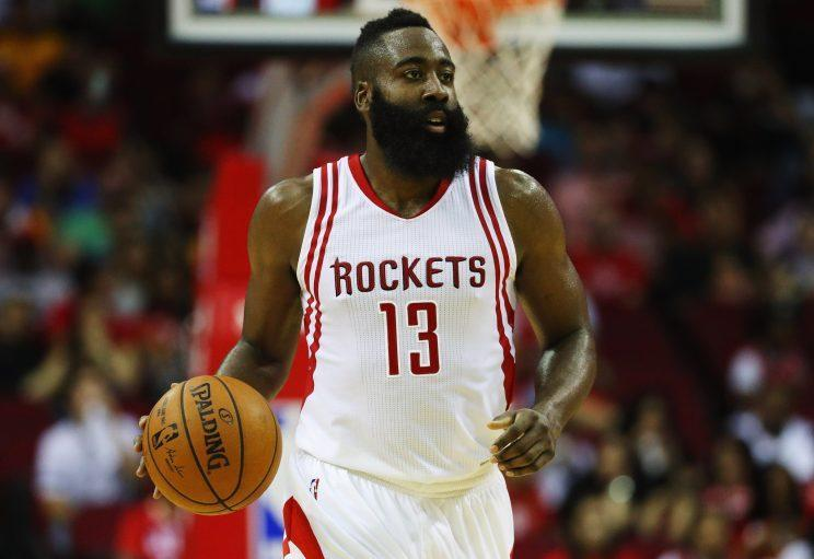 James Harden is averaging 31.6 points, 12.7 assists and 7.1 rebounds per game. (Getty Images)