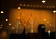 FILE PHOTO: The United Nations logo is seen during the 2019 United Nations Climate Action Summit at U.N. headquarters in New York City, New York, U.S.