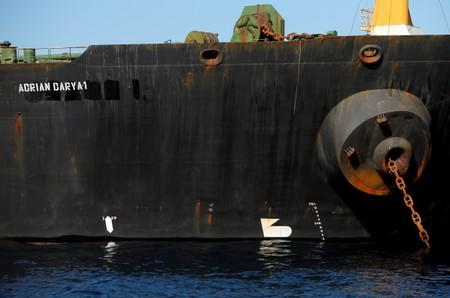 Iranian oil tanker Adrian Darya 1, previously named Grace 1, sits anchored after the Supreme Court of the British territory lifted its detention order, in the Strait of Gibraltar