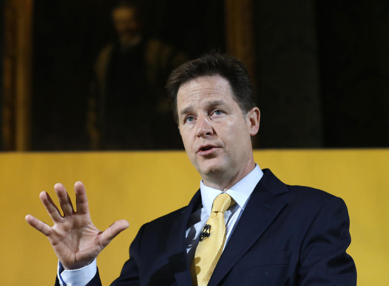 FILE - In this April 28, 2015 file photo, Nick Clegg, then leader of Britain's Liberal Democrat party, speaks at a press conference in London. Speaking at the Atlantic Festival in Washington on Tuesday, Sept. 24, 2019, Nick Clegg, Facebook's vice president of global affairs, said the company has exempted politicians from its fact checking program for more than a year. But if politicians share previously debunked links or other material, those will be demoted and banned from being included in ads.. (AP Photo/Kirsty Wigglesworth, File)