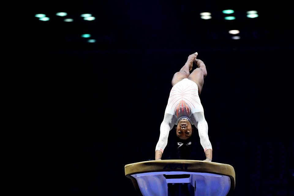 Simone Biles lands the Yurchenko double pike while competing on the vault during the 2021 GK U.S. Classic gymnastics competition at the Indiana Convention Center. (Photo by Emilee Chinn/Getty Images)
