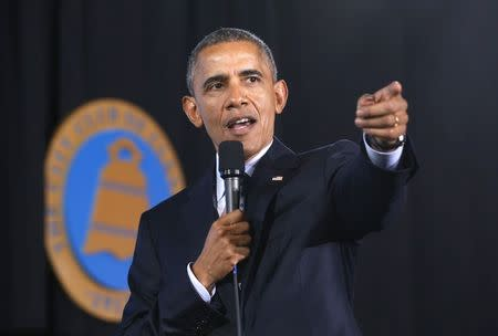 U.S. President Barack Obama speaks to the City Club of Cleveland about middle class economics in Ohio