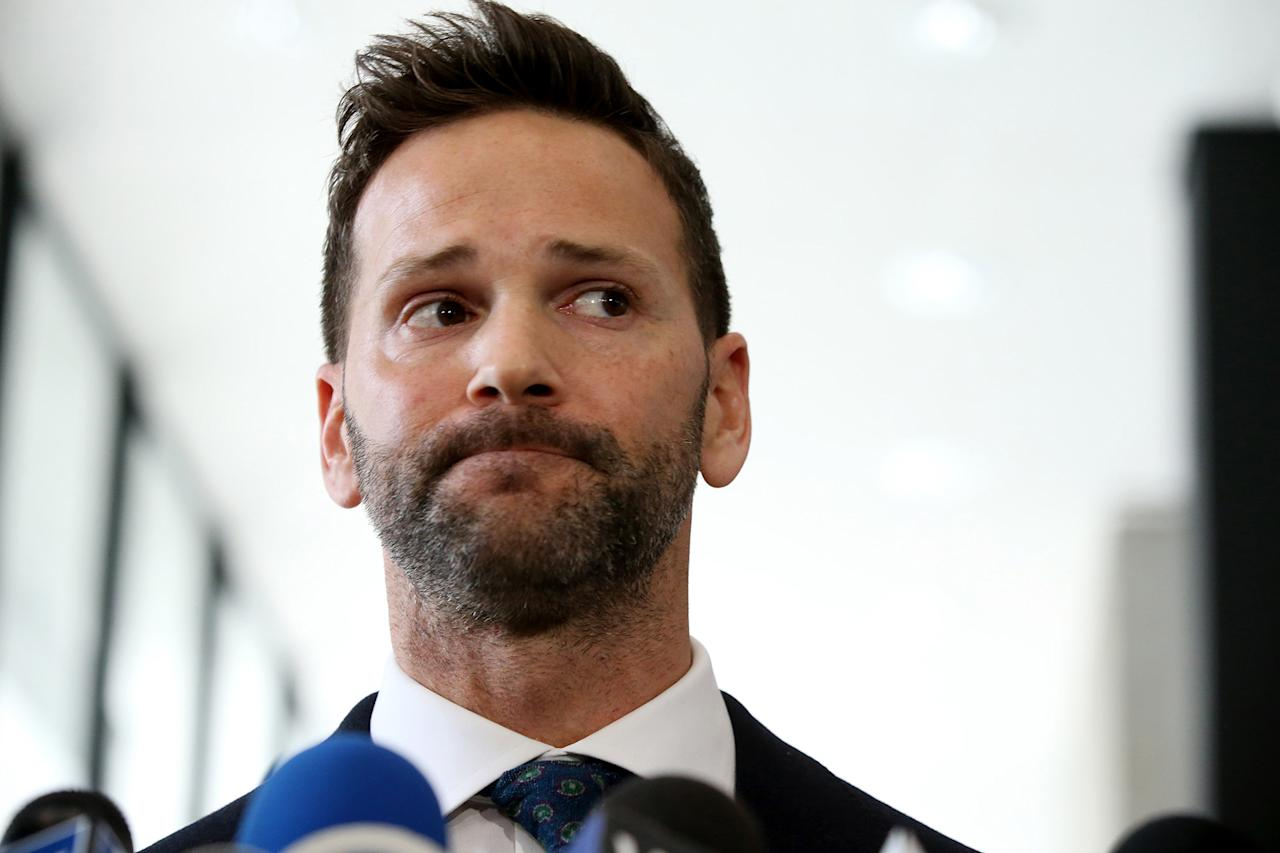Former U.S. Rep. Aaron Schock appears Wednesday, March 6, 2019 after his scheduled hearing at the U.S. Dirksen Courthouse in Chicago, Ill. Federal prosecutors have agreed to drop all charges against him if he pays back money he owes to the Internal Revenue Service and his campaign fund. (Antonio Perez/Chicago Tribune/Tribune News Service via Getty Images)