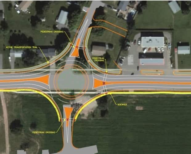 A roundabout at St. Peters and Angus Road would require an access road onto Angus in order to be safe, says P.E.I.'s chief engineer.