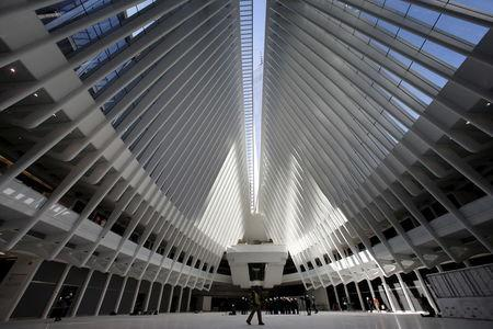 The interior of the Oculus structure of the World Trade Center Transportation Hub is pictured during a media tour of the site in Manhattan, New York City, March 1, 2016. REUTERS/Mike Segar