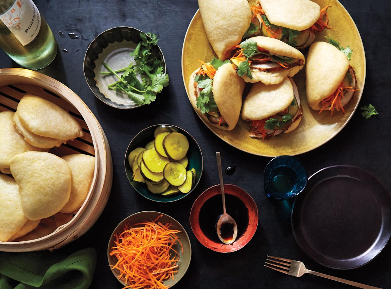 """With a flavor reminiscent of cornbread, these fluffy steamed bao are the ideal sandwich bread for repurposing turkey. <a href=""""https://www.bonappetit.com/recipe/cornmeal-bao-with-turkey-and-black-pepper-sauce?mbid=synd_yahoo_rss"""">See recipe.</a>"""