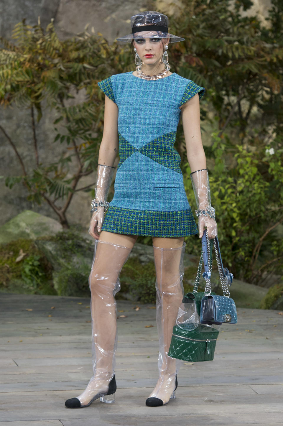 <p><i>Blue and green mini tweed dress from the SS18 Chanel collection. (Photo: ImaxTree) </i></p>