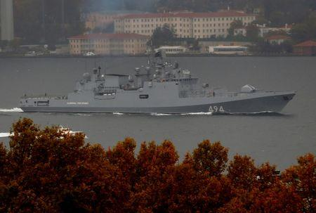 FILE PHOTO: The Russian Navy's frigate Admiral Grigorovich sails in the Bosphorus on its way to the Mediterranean Sea, in Istanbul