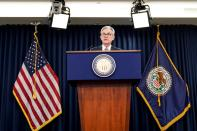 FILE PHOTO: Federal Reserve Chair Jerome Powell holds news conference following the Federal Open Market Committee meeting in Washington