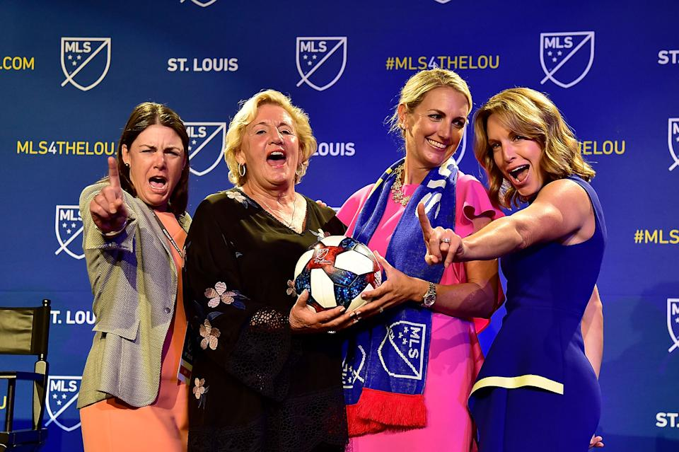 Aug 20, 2019; St. Louis, MO, USA; MLS expansion team female owners Patty Taylor and Joanne Kindle and Carolyn Kindle Betz and Chrissy Taylor pose for a photo after announcing a expansion team for St. Louis at The Palladium. Mandatory Credit: Jeff Curry-USA TODAY Sports