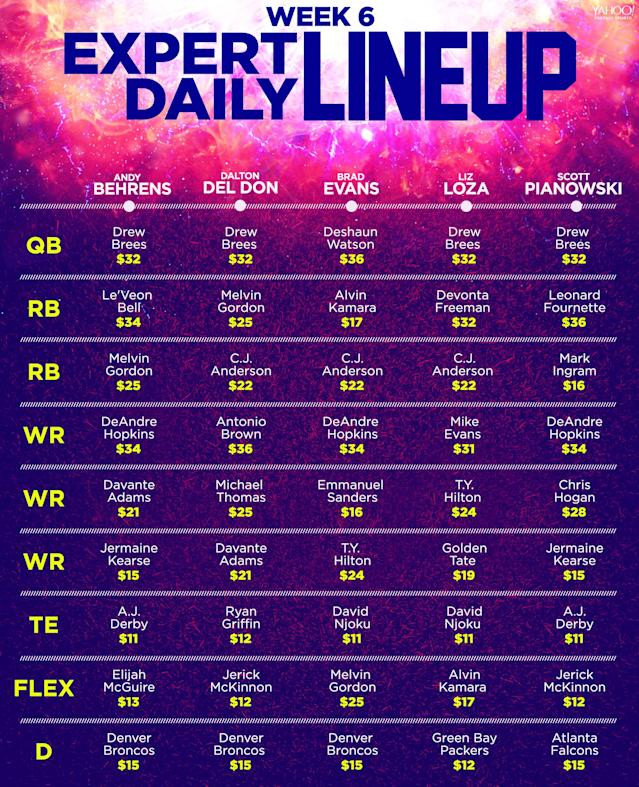 Week 6 Daily Fantasy lineups