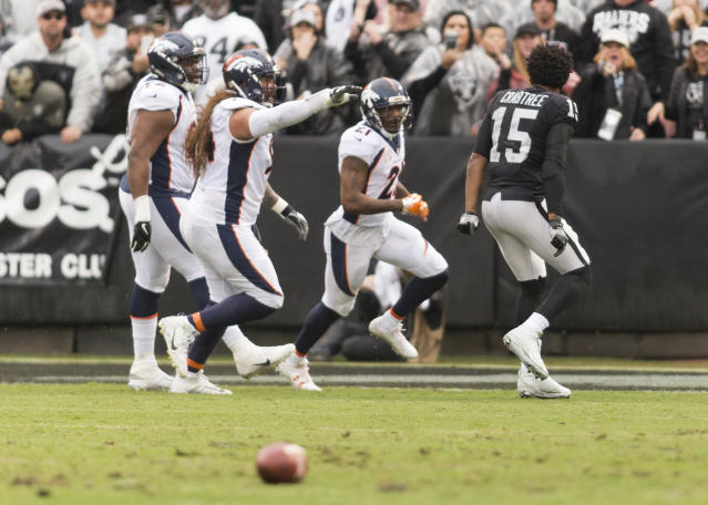 <p>Oakland Raiders wide receiver Michael Crabtree (15) taunts Denver Broncos cornerback Aqib Talib (21) after the incident on the sidelines during the first quarter at Oakland Coliseum. Mandatory Credit: Neville E. Guard-USA TODAY Sports </p>