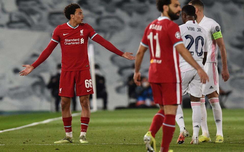 Trent Alexander-Arnold complains to the referee - GETTY IMAGES