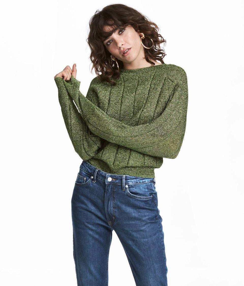 """<p><strong>H&M</strong> Glittery Sweater, available at <a href=""""http://www2.hm.com/en_gb/productpage.0560687002.html#Green/Glitter"""" rel=""""nofollow noopener"""" target=""""_blank"""" data-ylk=""""slk:H&M"""" class=""""link rapid-noclick-resp"""">H&M</a>.</p>"""