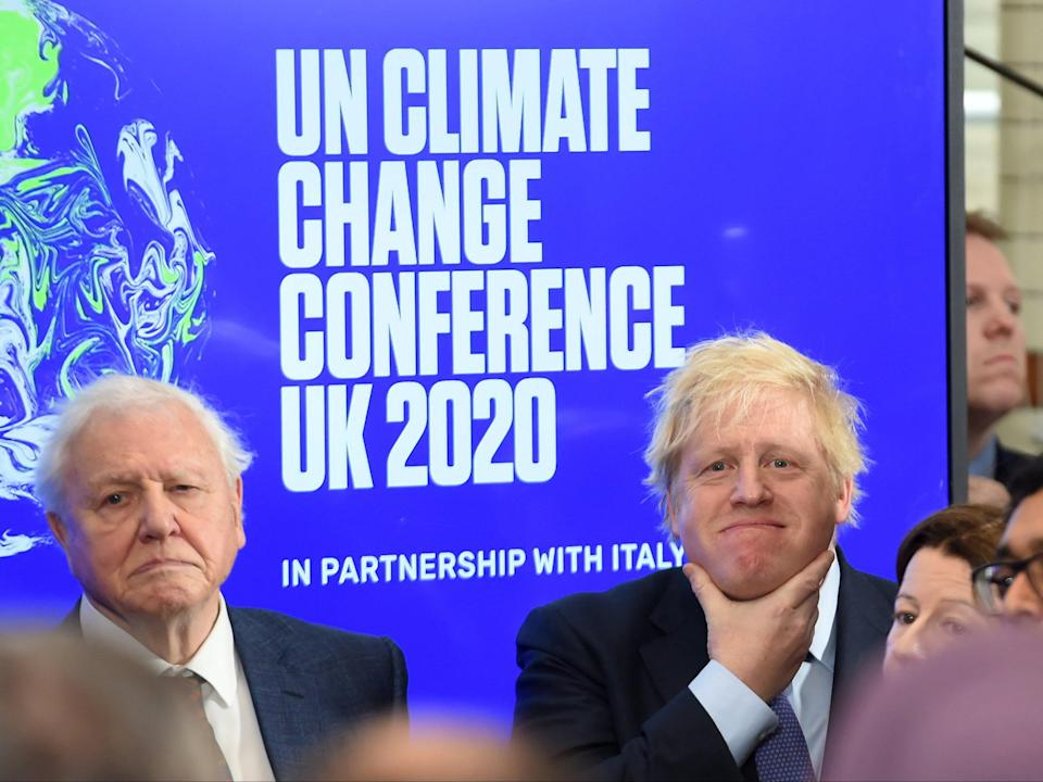 <p>Boris Johnson, seen with Sir David Attenborough, wants to reduce nation's carbon footprint before the COP26 summit next November</p> (Getty)