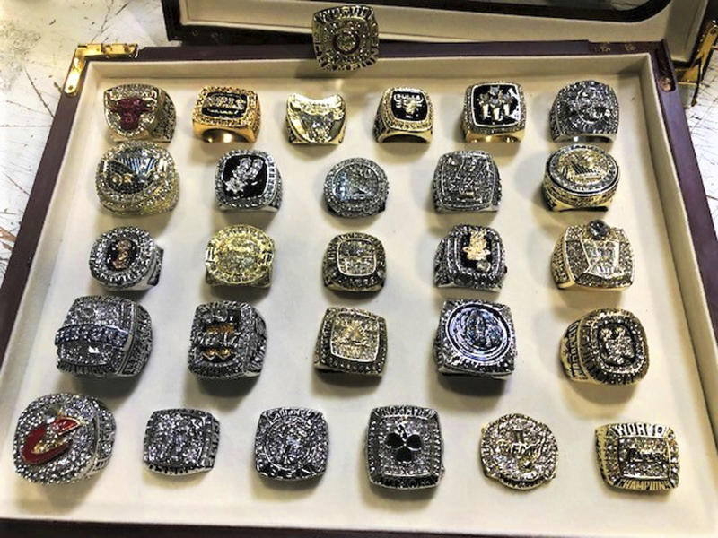 The counterfeit ring collection included knock-offs of vintage rings and those won recently by the Cavaliers and Warriors. (AP)