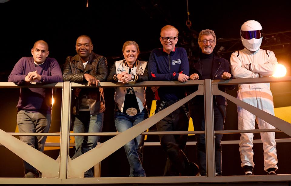 Top Gear presenters (left to right) Chris Harris, Rory Reid, Sabine Schmitz, Chris Evans, Eddie Jordan and The Stig. (PA)