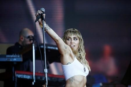 American singer Miley Cyrus performs on the Pyramid Stage during Glastonbury Festival in Somerset