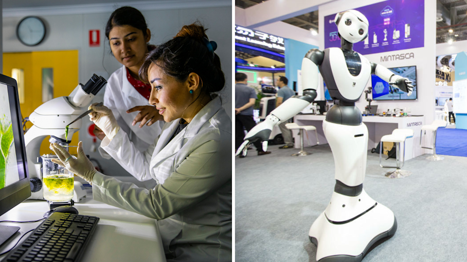 Scientists working in a biotech lab (left); A robot on display in a mall in China (right). (Source: Getty)