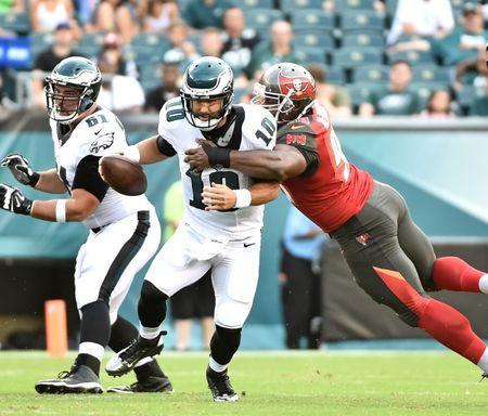 Aug 11, 2016; Philadelphia, PA, USA; Philadelphia Eagles quarterback Chase Daniel (10) is sacked by Tampa Bay Buccaneers defensive tackle Clinton McDonald (98) during the first quarter at Lincoln Financial Field. Mandatory Credit: Eric Hartline-USA TODAY Sports / Reuters Picture Supplied by Action Images