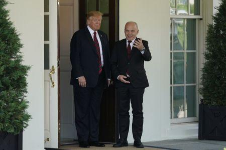 U.S. President Donald Trump stands with Swiss Federal President Ueli Maurer as he arrives for meetings at the White House in Washington, U.S., May 16, 2019. REUTERS/Carlos Barria