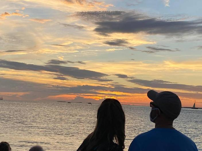 People watch the sunset from Mallory Square in Key West.