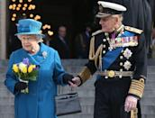 <p>Prince Philip and Queen Elizabeth II depart a Service of Commemoration for troops who were stationed in Afghanistan on March 13, 2015, in London, England.</p>