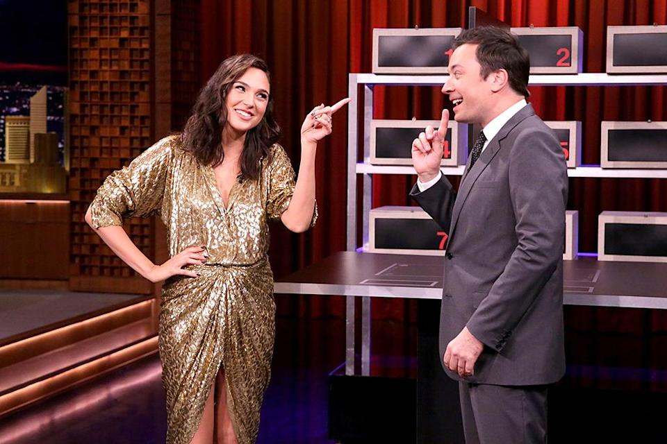 """<p>The actress dazzled in a shimmering Michael Kors dress during an appearance on <i>The Tonight Show Starring Jimmy Fallon</i>, during which she handily won a game of """"Box of Lies."""" (Photo: Andrew Lipovsky/NBC/NBCU Photo Bank via Getty Images) </p>"""
