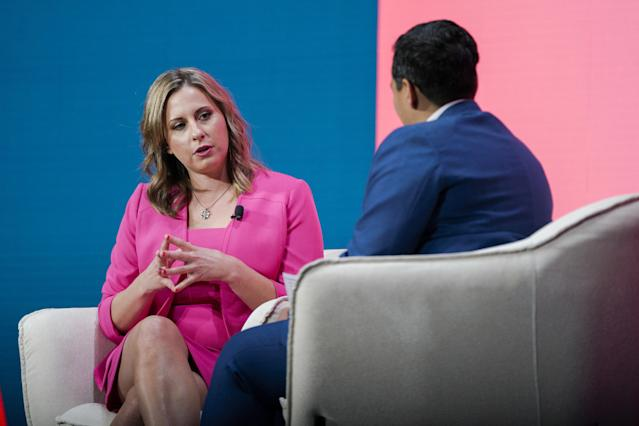 Katie Hill, a former Representative from California, speaks during the 2020 MAKERS Conference in Los Angeles, California. (Photo: Kyle Grillot/Bloomberg)