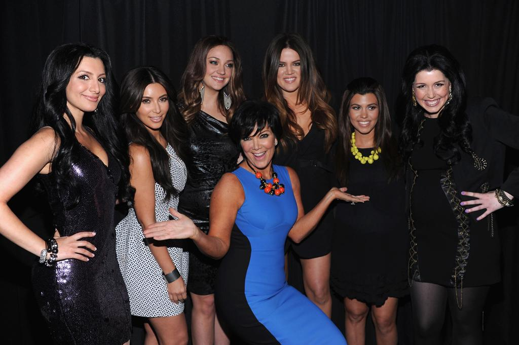 Nasim Pedrad, Kim Kardashian, Abby Elliott, Khloe Kardashian Odom, Kourtney Kardashian, Vanessa Bayer, and Kris Jenner attend E!'s 2012 Upfront event at Gotham Hall on April 30, 2012 in New York City.