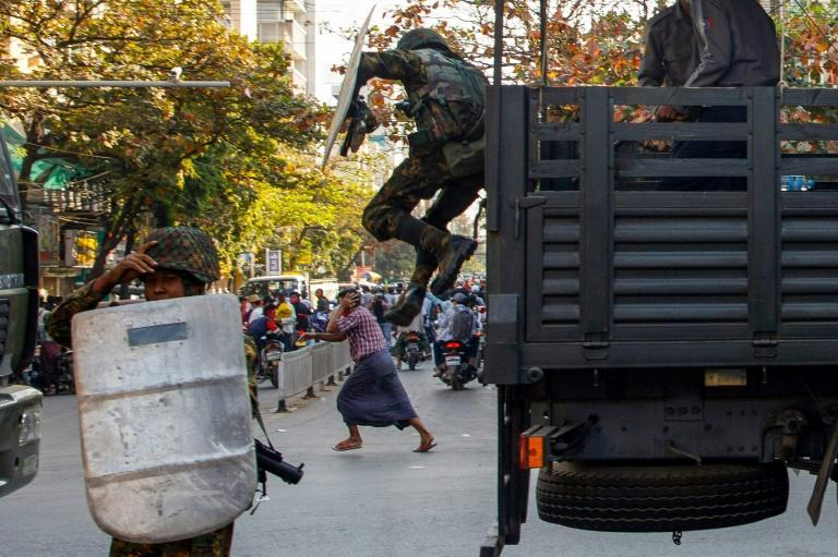Troops have fanned out around the country in recent days and fired rubber bullets to disperse one rally in Mandalay