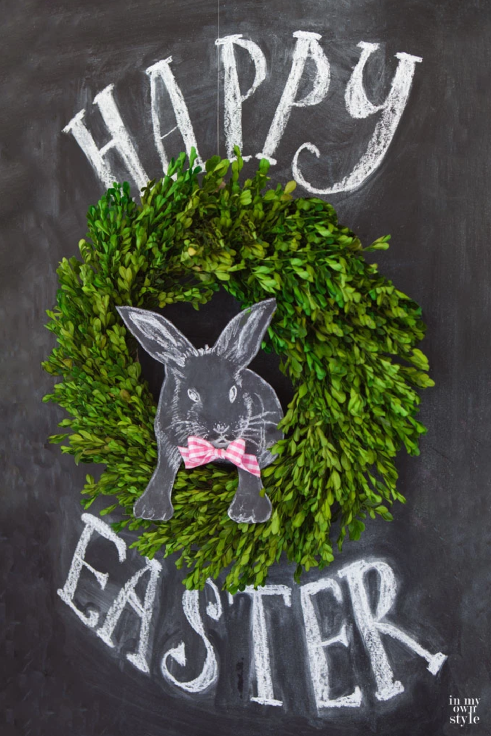 """<p>With a chalkboard and a boxwood wreath, you can make it look as though a chalkboard bunny is jumping out, complete with a gingham bow. </p><p><strong>Get the tutorial at <a href=""""https://inmyownstyle.com/3d-easter-chalkboard-art.html"""" rel=""""nofollow noopener"""" target=""""_blank"""" data-ylk=""""slk:In My Own Style"""" class=""""link rapid-noclick-resp"""">In My Own Style</a>.</strong></p><p><a class=""""link rapid-noclick-resp"""" href=""""https://go.redirectingat.com?id=74968X1596630&url=https%3A%2F%2Fwww.walmart.com%2Fip%2FEclipse-Black-Color-Card-Stock-Paper-65lb-8-5-X-11-Inches-50-Sheets%2F591851177&sref=https%3A%2F%2Fwww.thepioneerwoman.com%2Fhome-lifestyle%2Fcrafts-diy%2Fg35698457%2Fdiy-easter-wreath-ideas%2F"""" rel=""""nofollow noopener"""" target=""""_blank"""" data-ylk=""""slk:SHOP BLACK CARD STOCK"""">SHOP BLACK CARD STOCK</a></p>"""