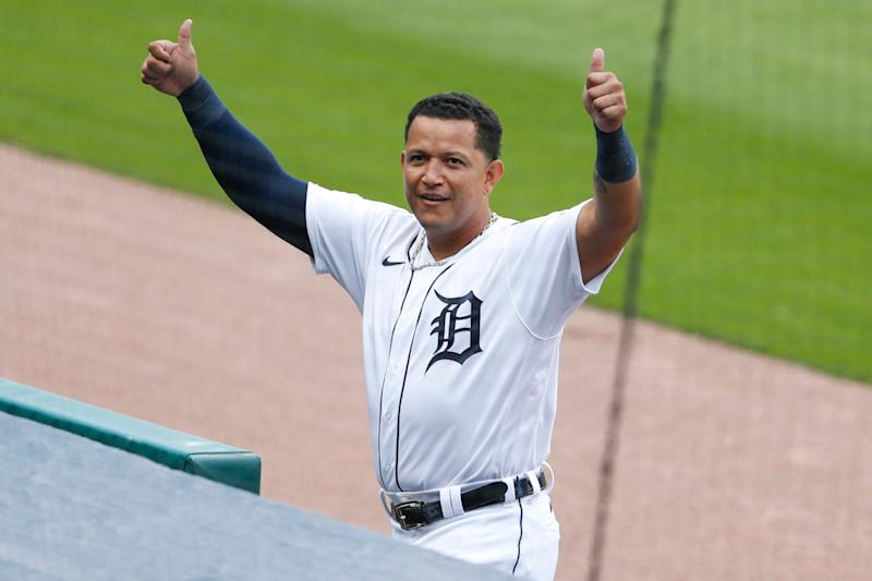 Detroit Tigers designated hitter Miguel Cabrera salutes an empty Comerica Park after hitting his 2,000 hit as a Tiger during the first inning against the Minnesota Twins, Aug. 30, 2020.