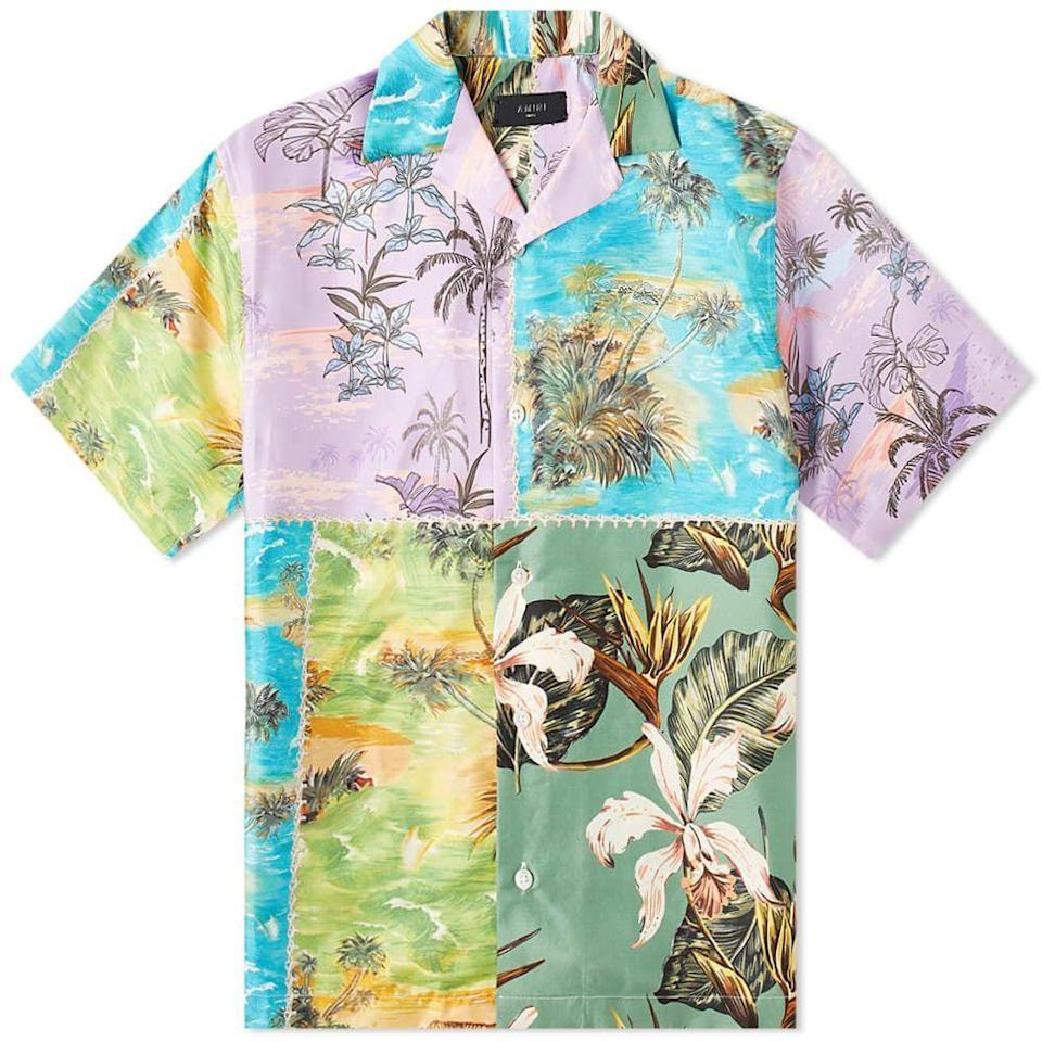 "<p><strong>Amiri</strong></p><p>amiri.com</p><p><strong>$790.00</strong></p><p><a href=""https://amiri.com/products/hawaiian-patchwork-shirt-purple-green"" rel=""nofollow noopener"" target=""_blank"" data-ylk=""slk:Shop Now"" class=""link rapid-noclick-resp"">Shop Now</a></p><p>If you can't decide on any one aloha print, try them all with Amiri. </p>"