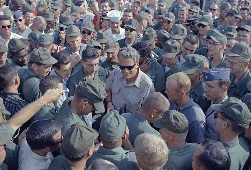 American servicemen with Billy Graham