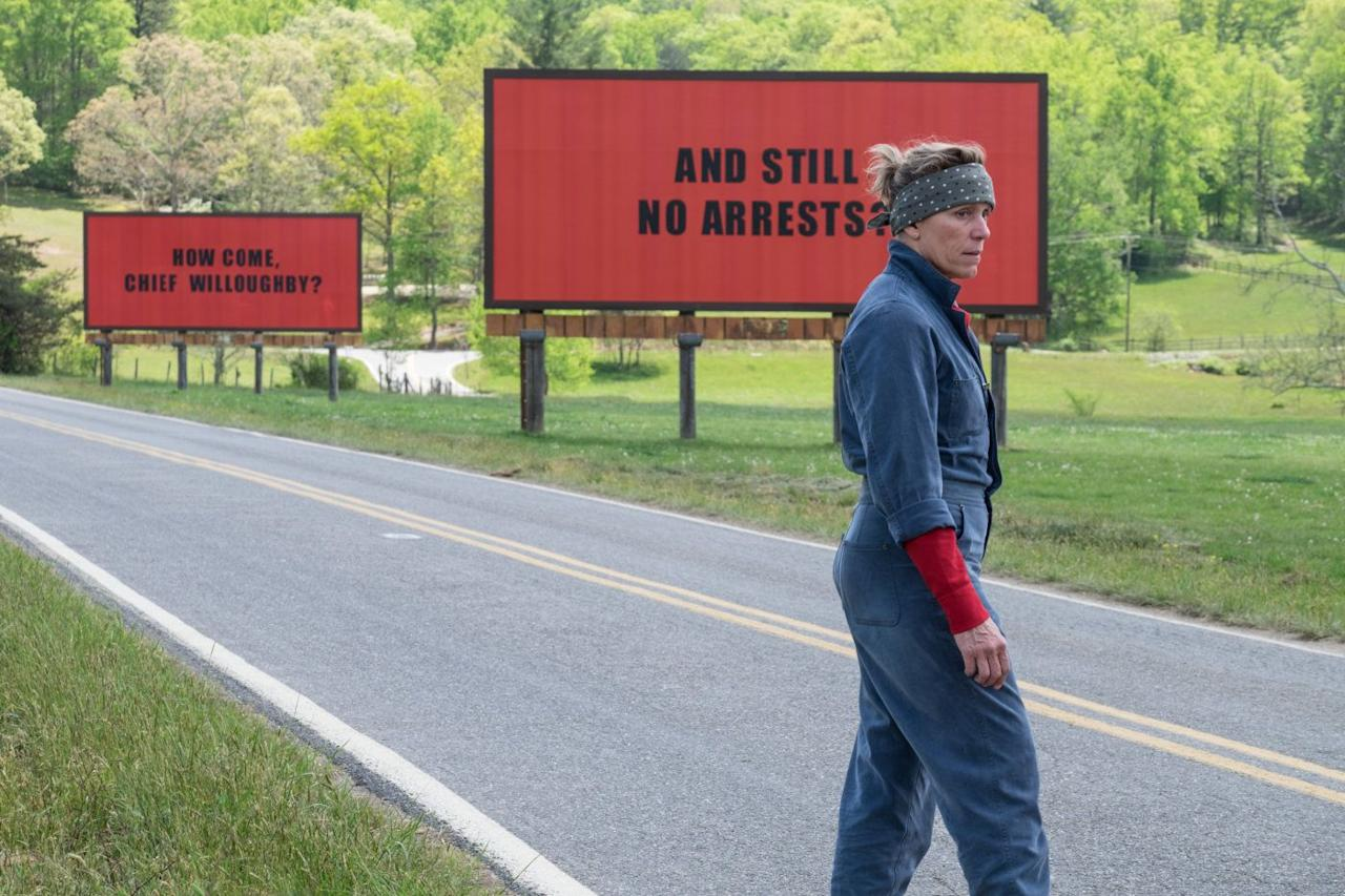 <p>An early front-runner for the big Oscar wins, it still managed to bag Frances McDormand armfuls of awards for her bold performance as the mother of a murdered girl who won't rest until her daughter gets justice, and for Sam Rockwell as the racist police officer at the centre of her small town.</p>