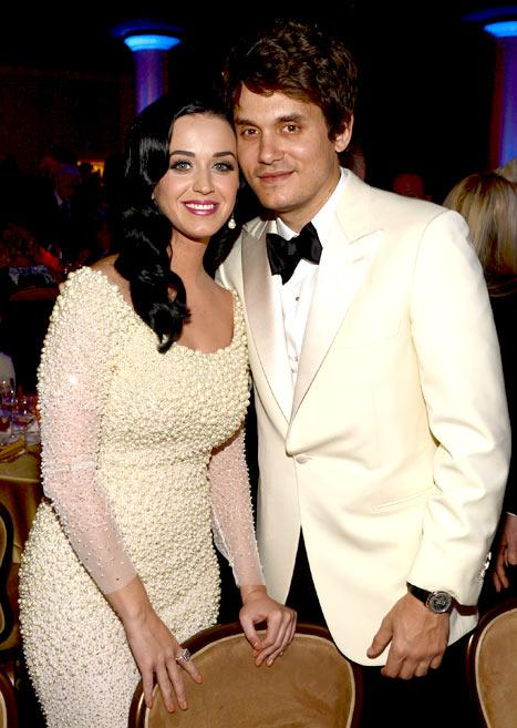 Katy Perry Gets Affectionate With John Mayer at Pre-Grammys Bash