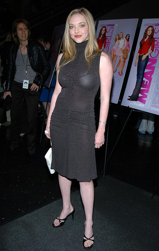 "The sheer black dress Seyfried wore to the NYC premiere of ""Mean Girls"" could have been perfection if only she had worn a black bra underneath it! (4/3/2004)"