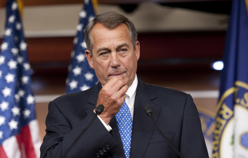 House Speaker John Boehner of Ohio, meets with the news media at the U.S. Capitol,  in Washington, Thursday, May 9, 2013. (AP Photo/Cliff Owen)