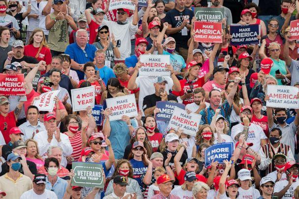 PHOTO: Fans cheer during a Make America Great Again Rally for President Trump at the Smith Reynolds Regional Airport in Winston-Salem, NC., Sept. 8, 2020. (Sean Meyers/ZUMA Wire via Newscom)