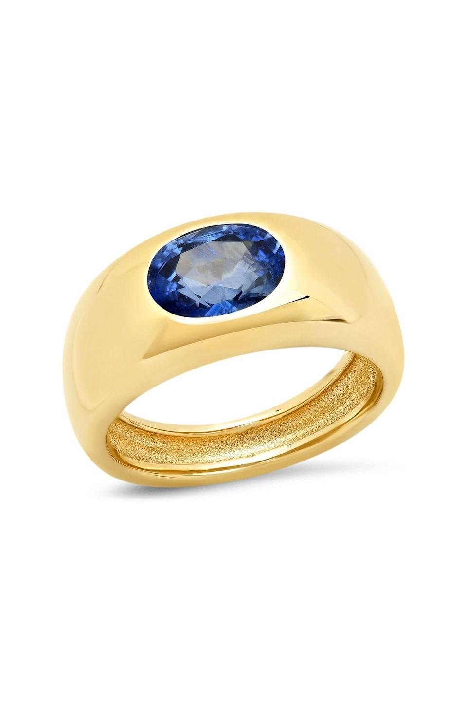 """<p><strong>Sig Ward</strong></p><p>sigwardjewelry.com</p><p><strong>$5600.00</strong></p><p><a href=""""https://www.sigwardjewelry.com/collections/gypsy-gems/products/14k-yg-sapphire-gypsy-ring-2"""" rel=""""nofollow noopener"""" target=""""_blank"""" data-ylk=""""slk:Shop Now"""" class=""""link rapid-noclick-resp"""">Shop Now</a></p><p>The California-based designer Sig Ward often turns to her environs—namely, the Pacific Ocean—for inspiration in her designs. Her Gypsy Dome rings, in particular, are instant heirlooms.</p>"""
