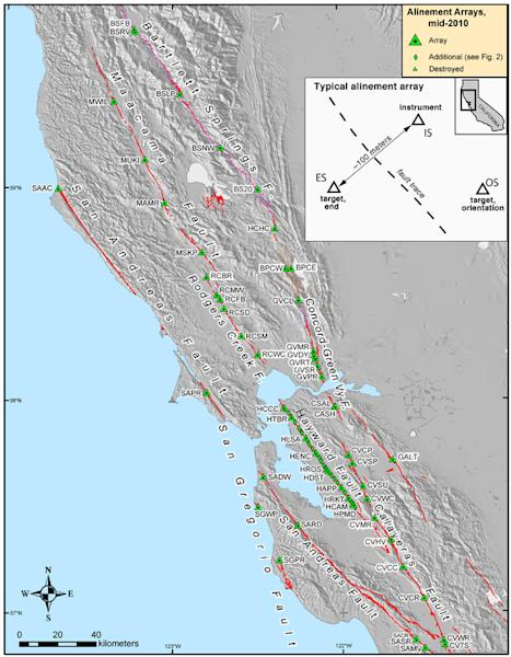 Map of Bay Area earthquake faults and creep measurement sites.