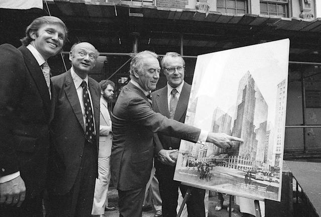 <p>From left: Donald Trump, Mayor Ed Koch, Gov. Hugh Carey, and Robert T. Dormer pose with an artist's conception of the New York Hyatt Hotel at a launching ceremony on June 28, 1978.<i> (Photo: AP)</i> </p>