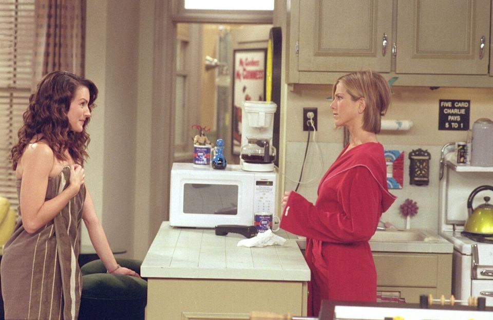 Actors (L-R): Kristin Davis As Erin And Jennifer Aniston As Rachel Green In Nbc's Comedy Series 'Friends.' Episode: 'The One With Ross's Library Book.'  (Photo By Getty Images)